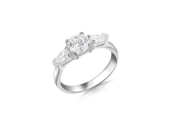 Sterling Silver Round and Pear Cut Zirconia  Set Ring