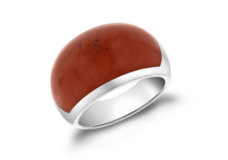 SILVER RED JASPER BAND Ring