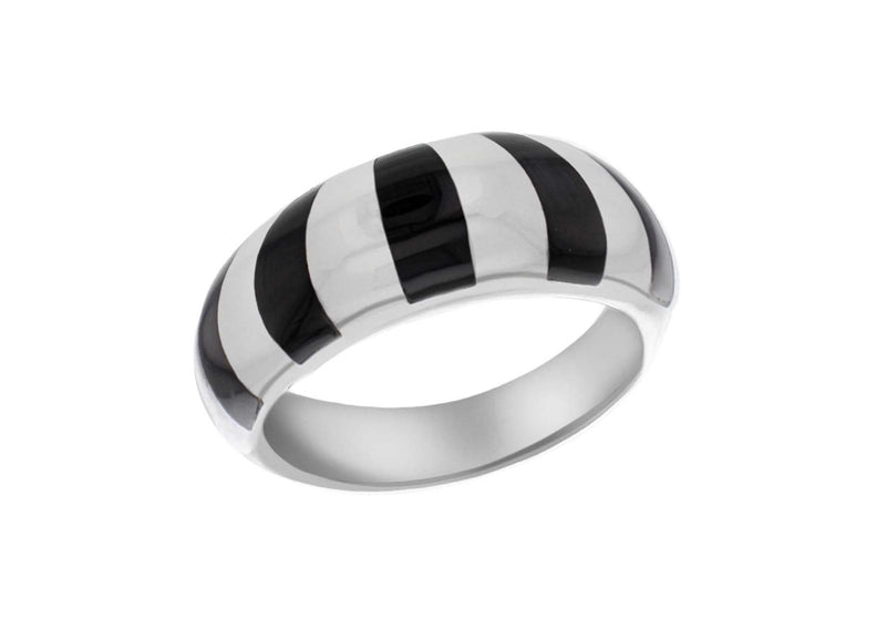 Sterling Silver Heavy Onyx Inlay Dome Ring