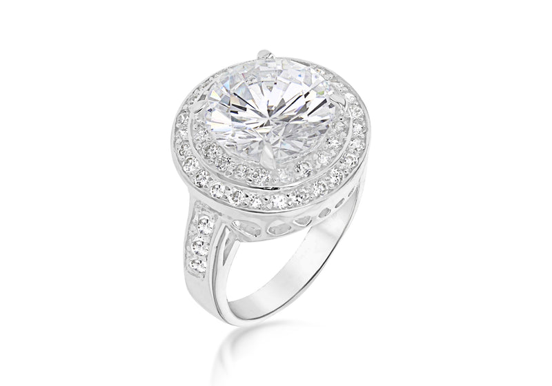 Sterling Silver White Zirconia Double Halo Ring