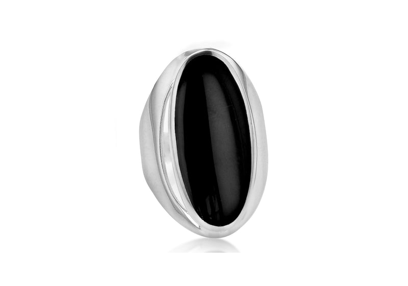 Sterling Silver Oval Onyx Ring