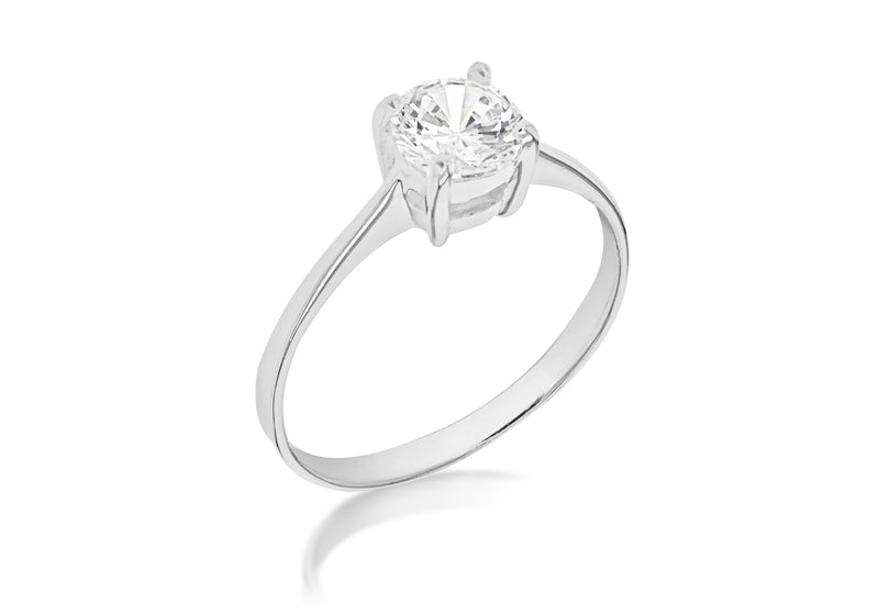 Sterling Silver Single Stone Zirconia Ring