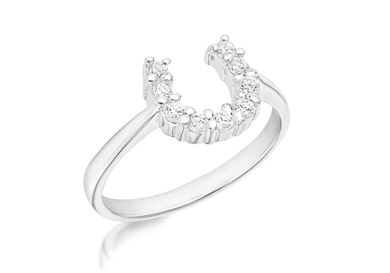 SILVER Zirconia  HORSESHOE Ring