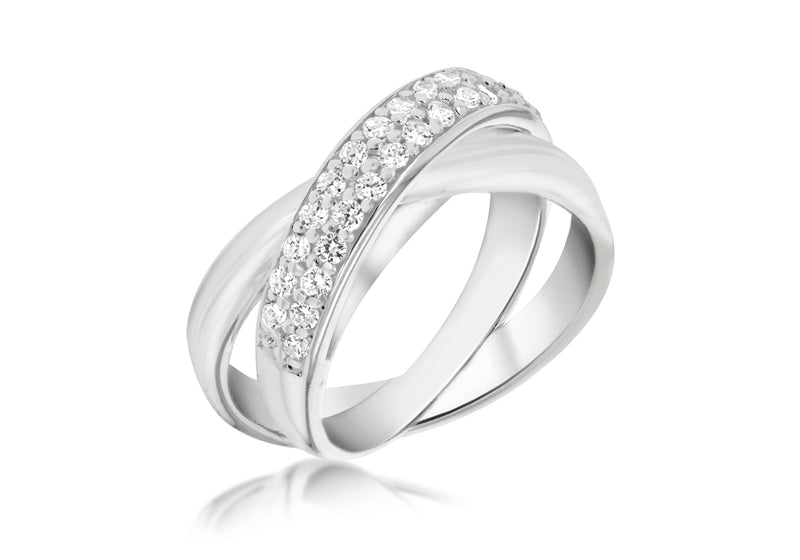 Sterling Silver Two Band Zirconia  Set Russian Ring
