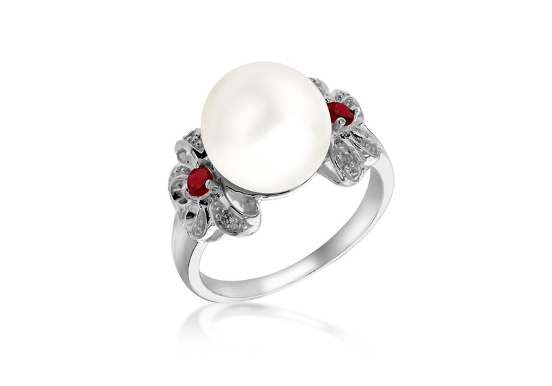 Sterling Silver White & Red Zirconia  Set Pearl Bow Ring