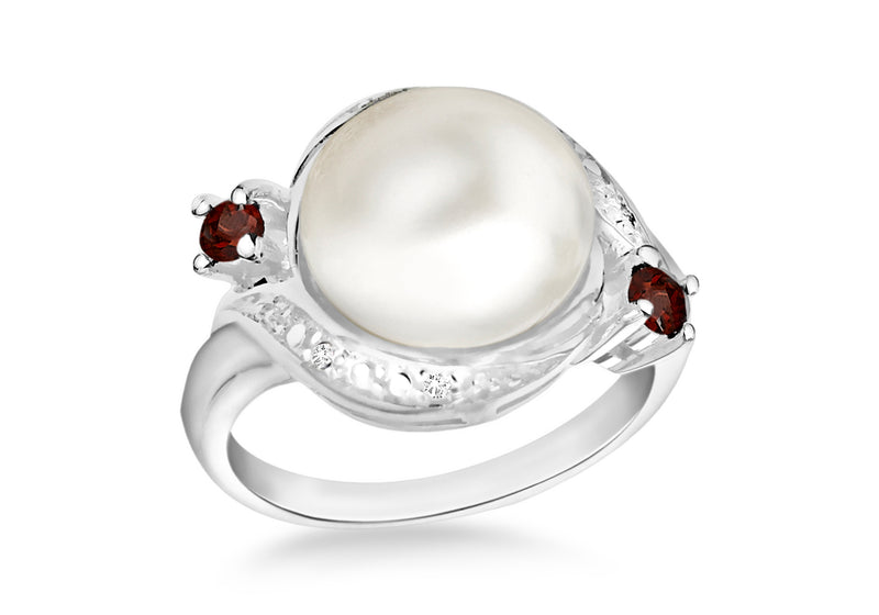 Sterling Silver Natural Pearl & White and Red Zircona Ring