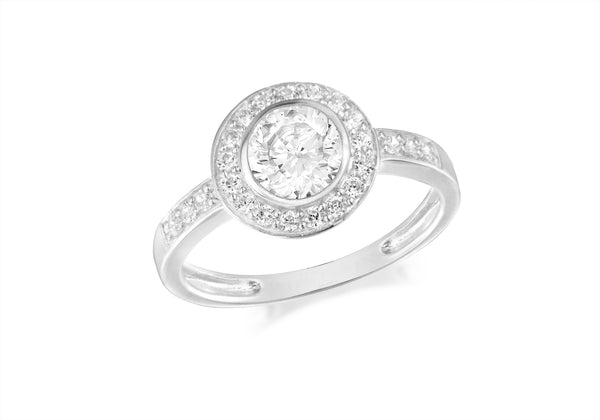 Sterling Silver Round Zirconia  Set Ring