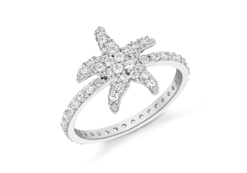 SILVER WHITE Zirconia  STARFISH Ring