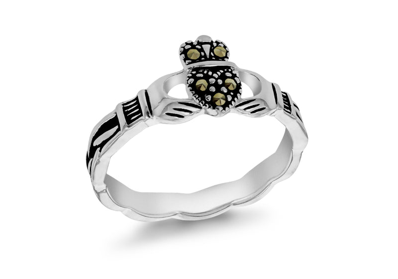 Sterling Silver March Claddagh Ring