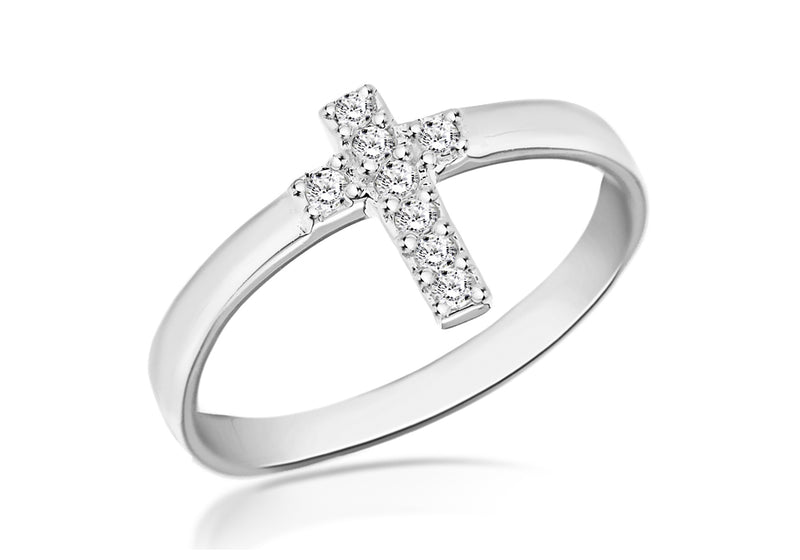 SILVER MINI Cross & Zirconia  Ring