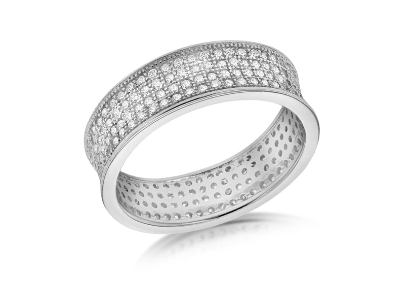 SILVER RHOD Zirconia  4ROW ETERN Ring