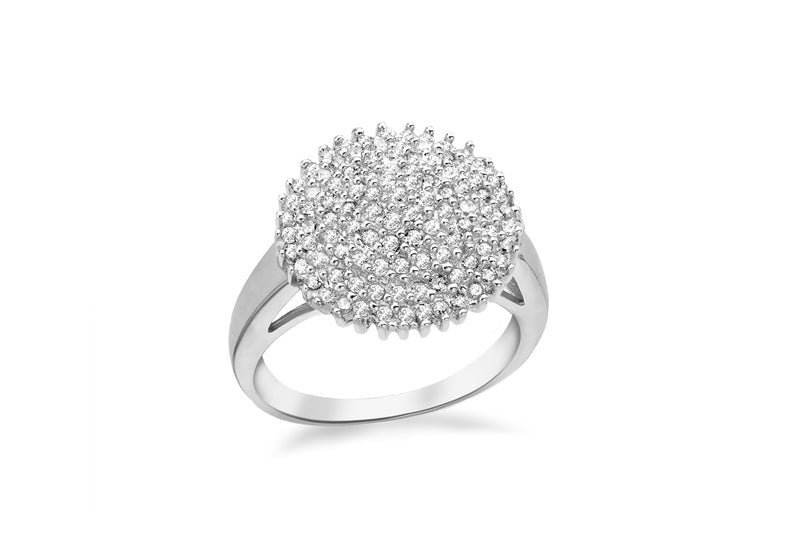 Sterling Silver Rhodium Zirconia Cluster Bomb Ring