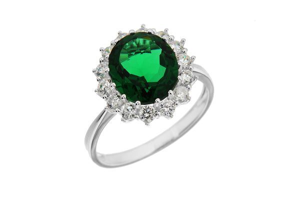 Sterling Silver White Zirconia  and Green Crystal  Cluster Ring