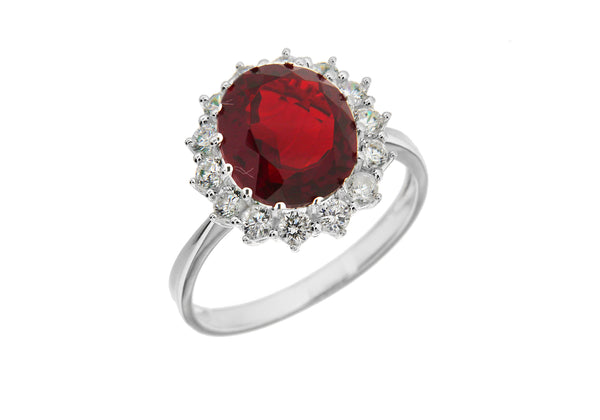 Sterling Silver White Zirconia  & Red Crystal Cluster Ring
