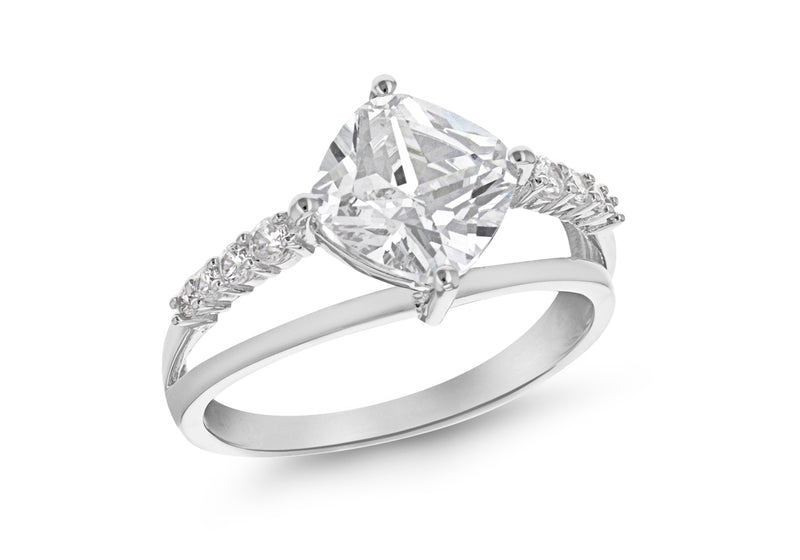 Sterling Silver Rhodium Plated Diamond Shaped Zirconia  Ring