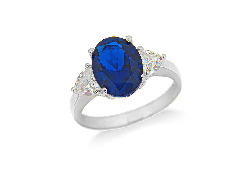 Sterling Silver Rhodium Plated Blue and White Zirconia  Oval Ring