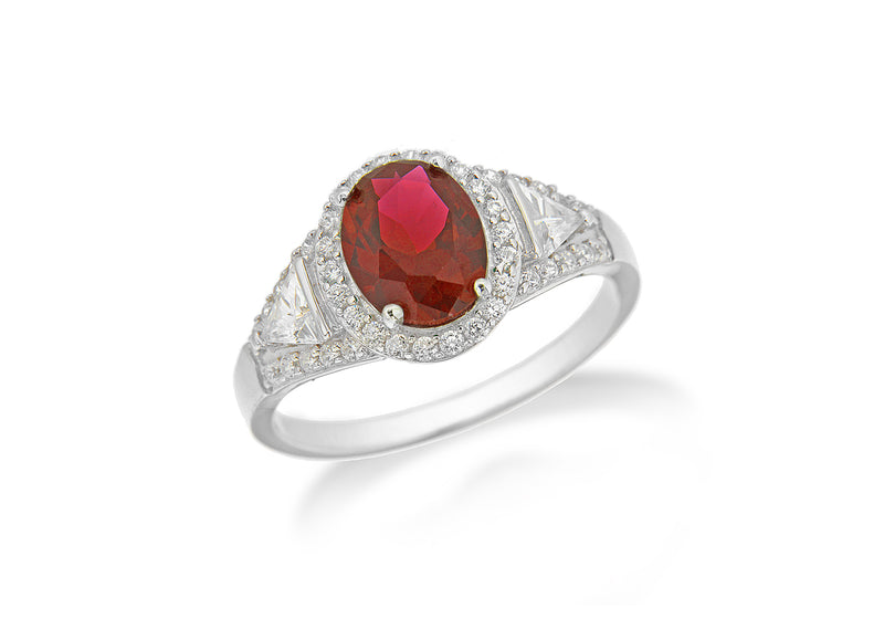 Sterling Silver Rhodium Plated Ruby and White Zirconia  Oval Cluster Ring