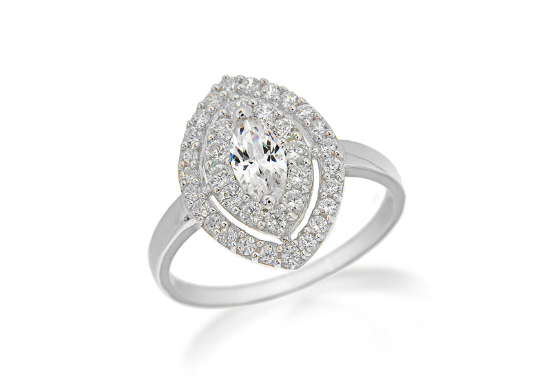 Sterling Silver Rhodium Plated White Zirconia  Elliptic Ring