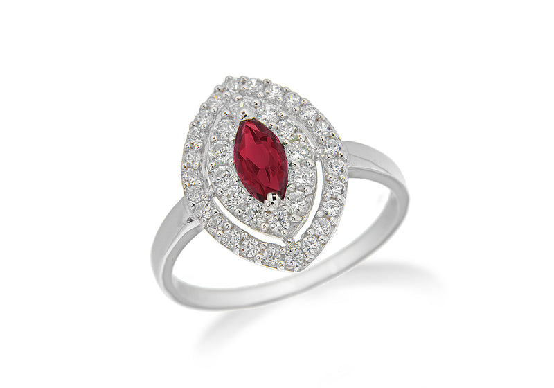 Sterling Silver Rhodium Plated White Zirconia  and Ruby Crystal Elliptic Ring