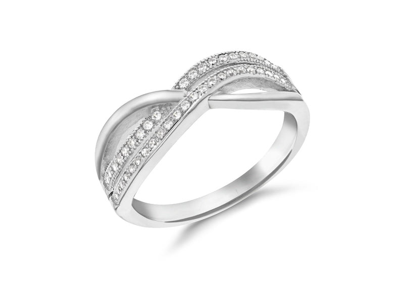 Sterling Silver Rhodium Plated Zirconia  Double Crossover Ring
