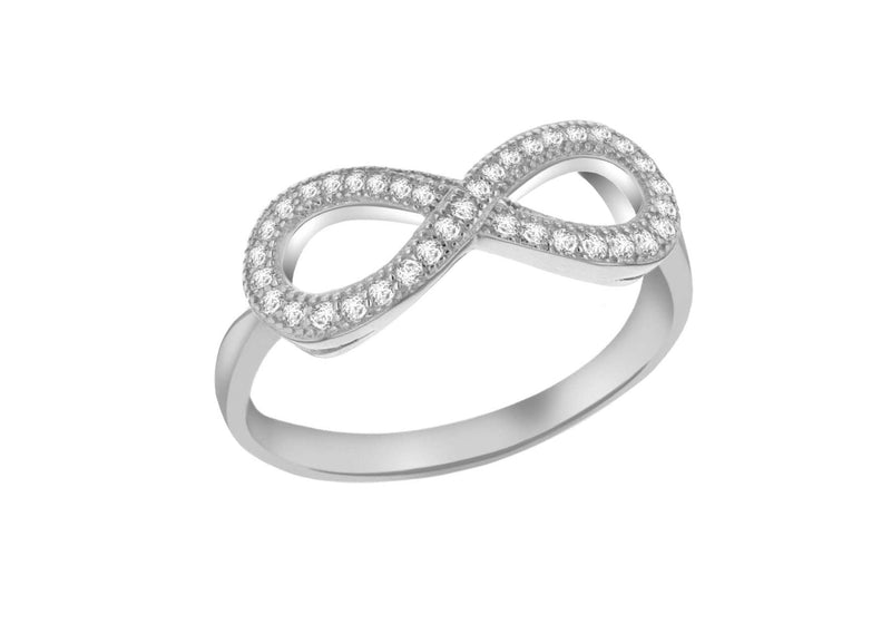 Sterling Silver Rhodium Plated Zirconia  Infinity Ring