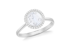 Sterling Silver Rhodium Plated Floating Zirconia  Stones Round Ring