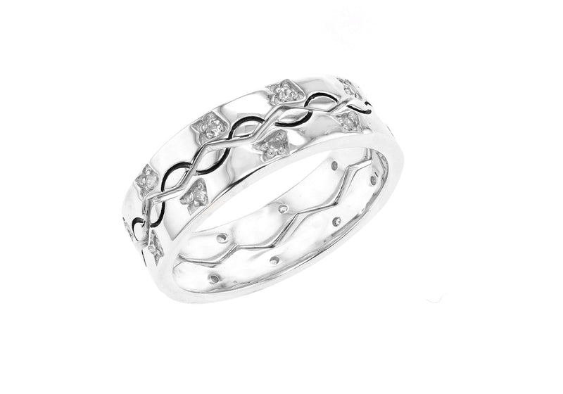 Interlocking Sterling Silver Rhodium Plated Zirconia Set of Two Ivy Zig Zag Rings