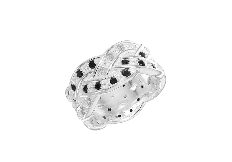 Sterling Silver Black and White Zirconia  Braided Band Ring