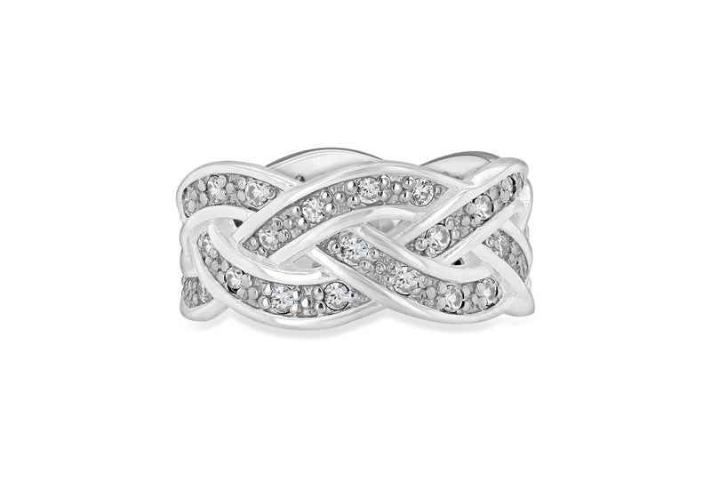 Sterling Silver White Zirconia  Braided Band Ring
