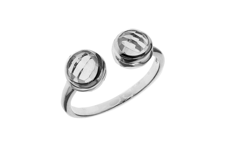 Sterling Silver White Crystal Faceted Torque Ring