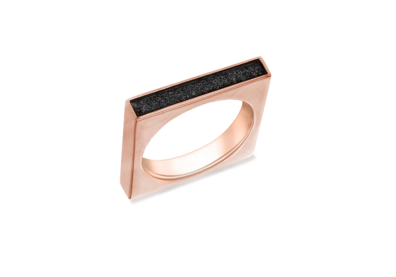 Sterling Silver Rose Gold Plated Black Glitter Square Ring