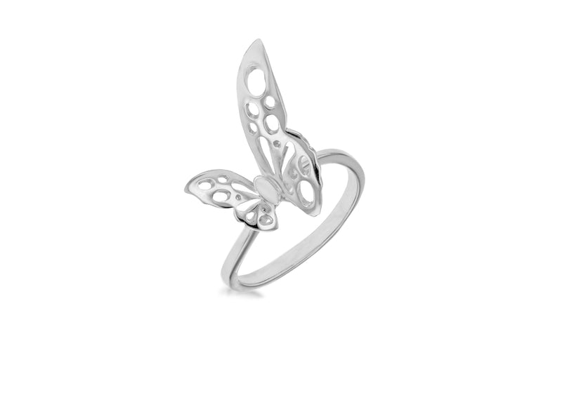 Sterling Silver Rhodium Plated Filigree BCutterfly Ring