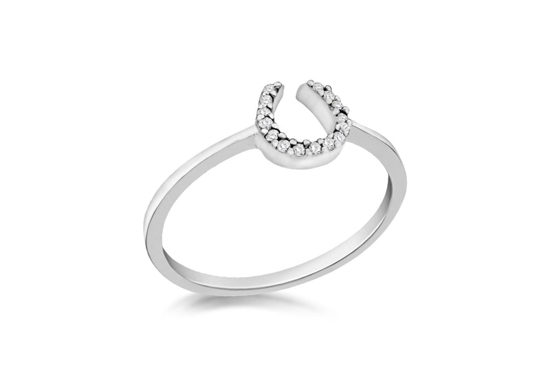 Sterling Silver Rhodium Plated Zirconia  Horseshoe Ring