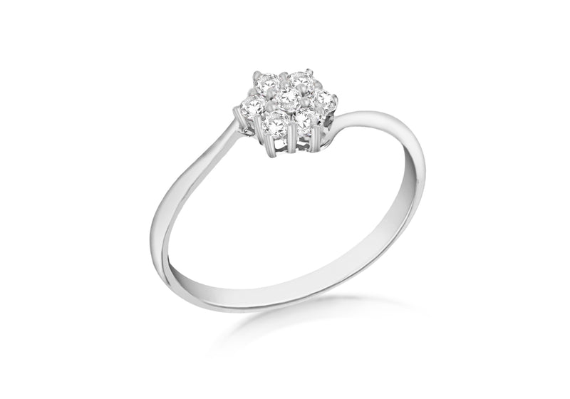Sterling Silver Rhodium Plated Zirconia  Cluster Ring