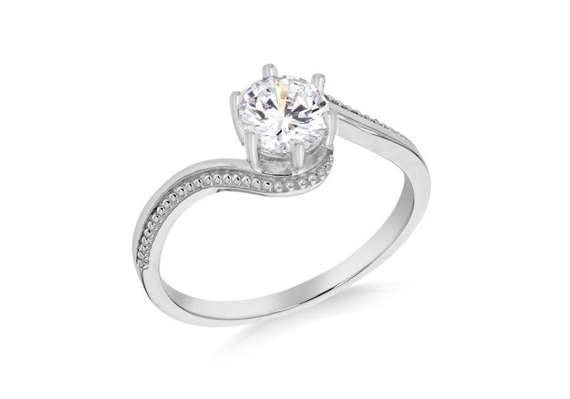 Sterling Silver Rhodium Plated Zirconia  Solitaire And Milgrain Ring