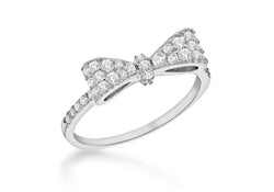 Sterling Silver Rhodium Plated Zirconia  Bow Ring