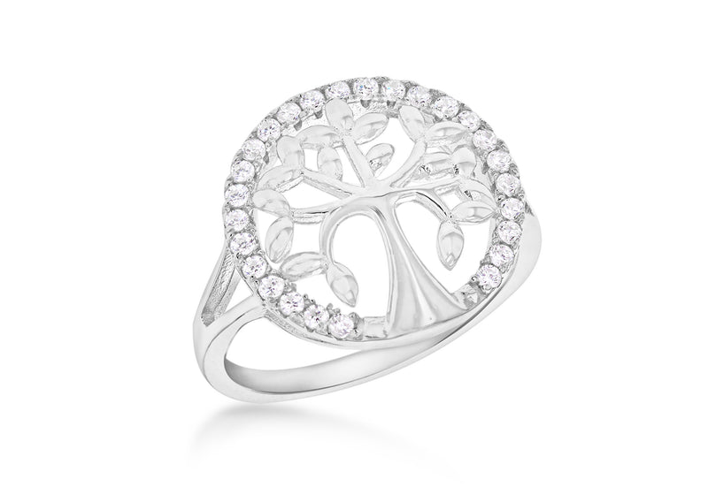Sterling Silver Rhodium Plated Zirconia  15.5mm 'Tree of Life' Ring