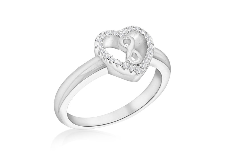 Sterling Silver Rhodium Plated Zirconia  Infinity Heart Ring