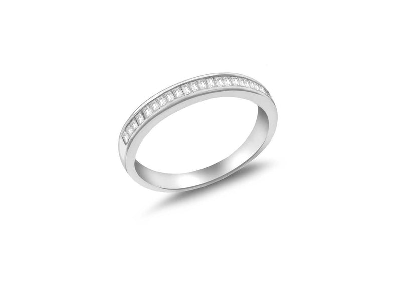 Sterling Silver Rhodium Plated Baguette Cut Zirconia  Band Ring