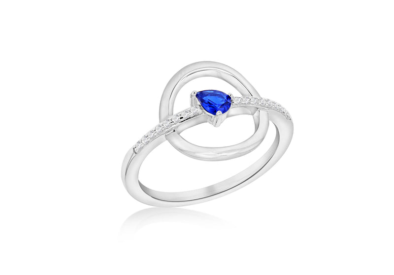 Sterling Silver Rhodium Plated White and Blue Zirconia  Circle & Bar Ring