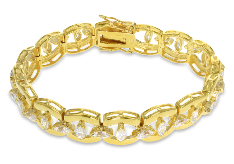 Gold Plated Sterling Silver Fancy Zirconia Bracelet