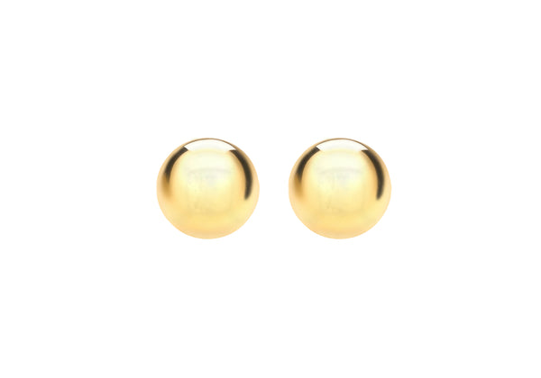 Sterling Silver Yellow Gold Plated Ball Stud Earrings