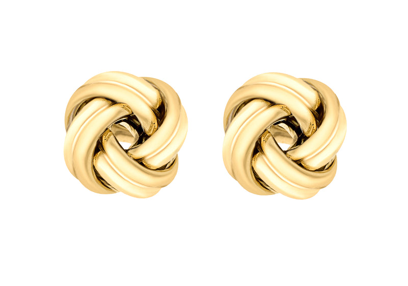 Sterling Silver Yellow Gold Plated Knot Stud Earrings