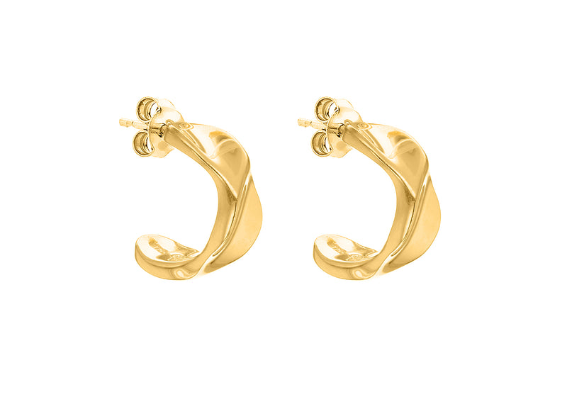 Sterling Silver Yellow Gold Plated Twisted Half-Band Earrings