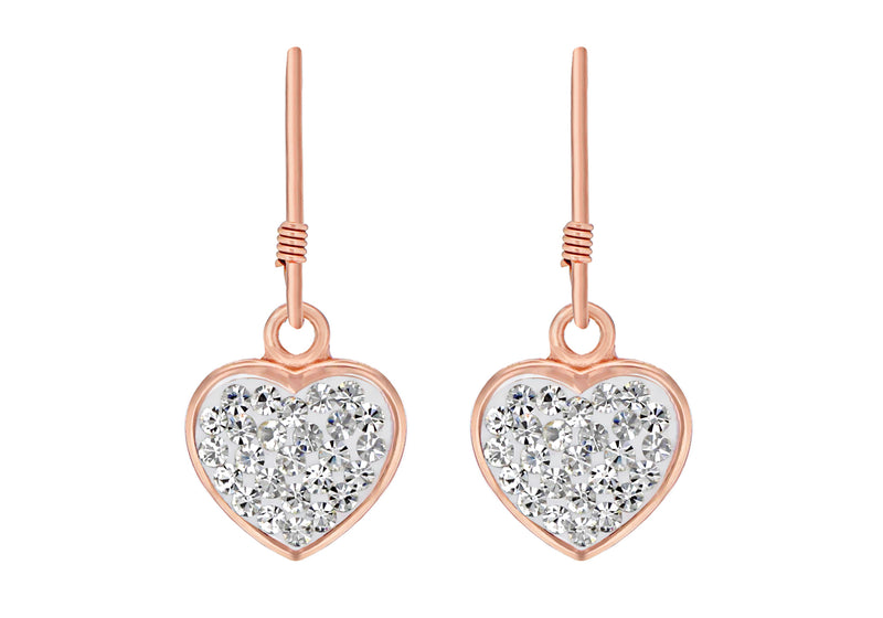 Sterling Silver Rose Gold Plated Crystal Pave Heart Drop Earrings