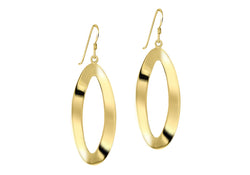 Sterling Silver Yellow Gold Plated Twisted Oval Drop Earrings