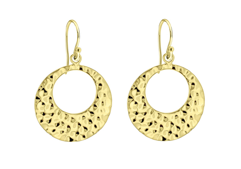 Sterling Silver Yellow Gold Plated CutoCut Hammer Disc Earrings