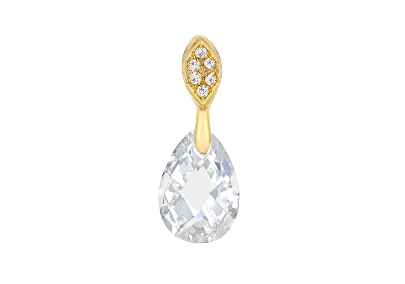 Sterling Silver Yellow Gold Plated Zirconia  Faet Teardrop Pendant