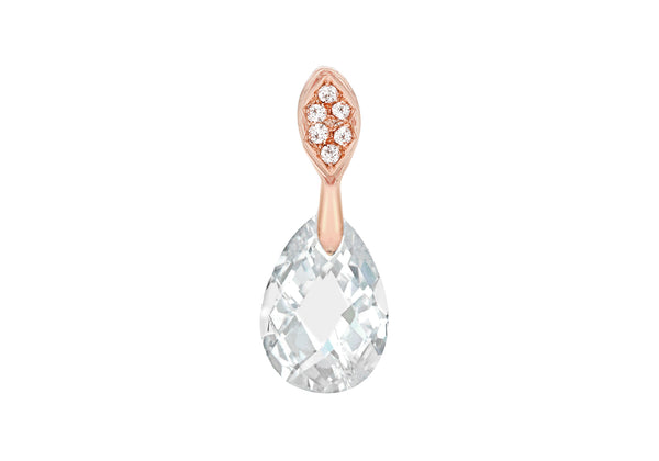 Sterling Silver Rose Gold Plated Zirconia  Faet Teardrop Pendant