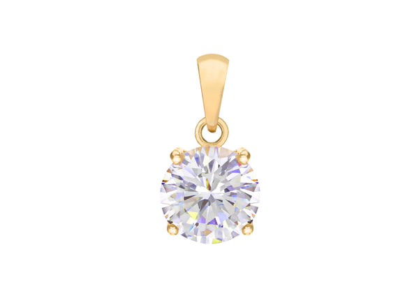 Sterling Silver Yellow Gold Plated Round Zirconia  Stone Claw Pendant
